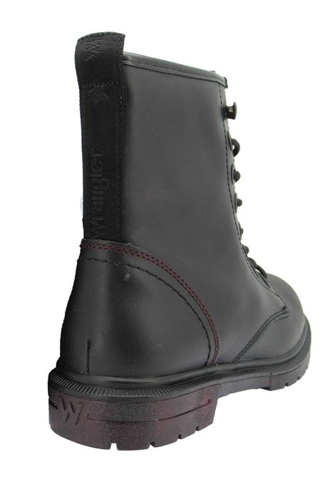 Women's ankle boots Combat Boot Spike Mid in Matt Black Leather with Rubber Sole Tank Wrangler | Ankle Boots | WL12560A062