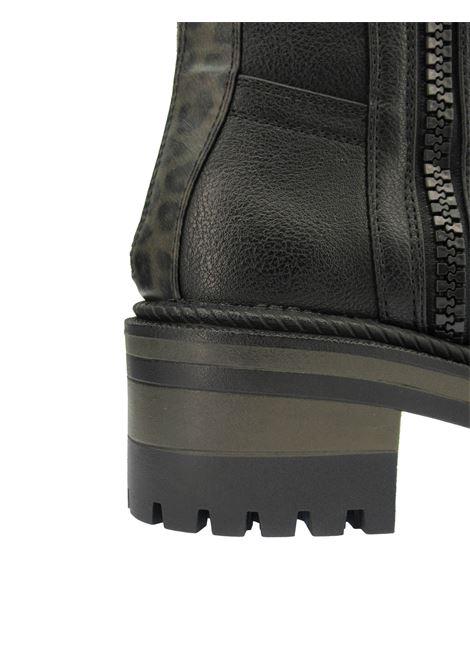Calzature Donna Stivaletti Anfibi Combat Boot Ballantyne in Ecopelle Nera e Stampa Animalier con Fondo in Gomma Carrarmato Wrangler | Stivaletti | WL12602A866