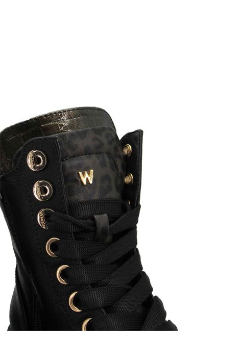 Women's ankle boots Combat Boot Courtney Safari Lace in Eco-Leather Black and Animal Print with Rubber Sole Tank Wrangler | Ankle Boots | WL12611A866