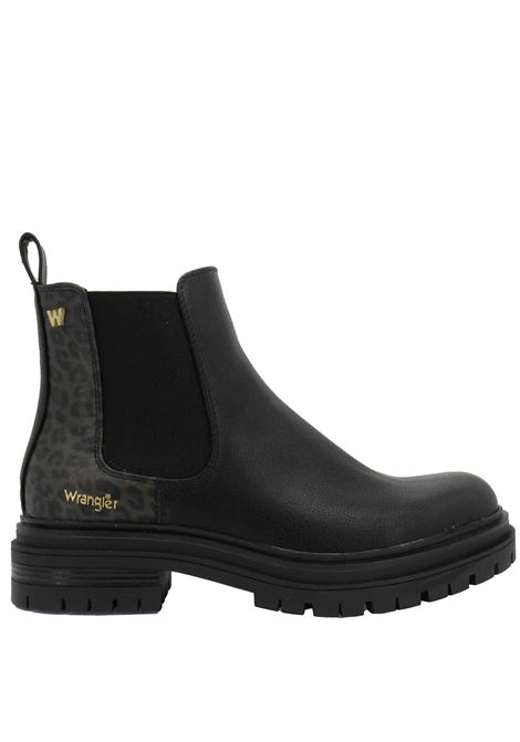 Women's Ankle Boots Beatles Courtney Safari Chelsea in Eco-Leather Black with Animal Print and Rubber Sole Tank Wrangler | Ankle Boots | WL12612A866