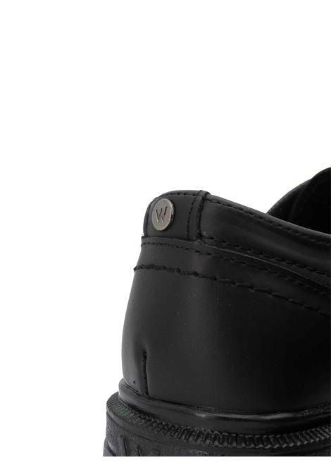 Calzature Uomo Scarpe Stringate Spike Derby in Pelle Opaca Nera con Fondo in Gomma Carrarmato Wrangler | Stringate | WM12042A062