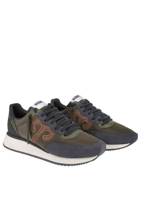 Calzature Uomo Sneakers Master in Pelle Blu e Tessuto Verde con Fondo Alto in Gomma Bianca Wushu | Sneakers | MASTER MM210M