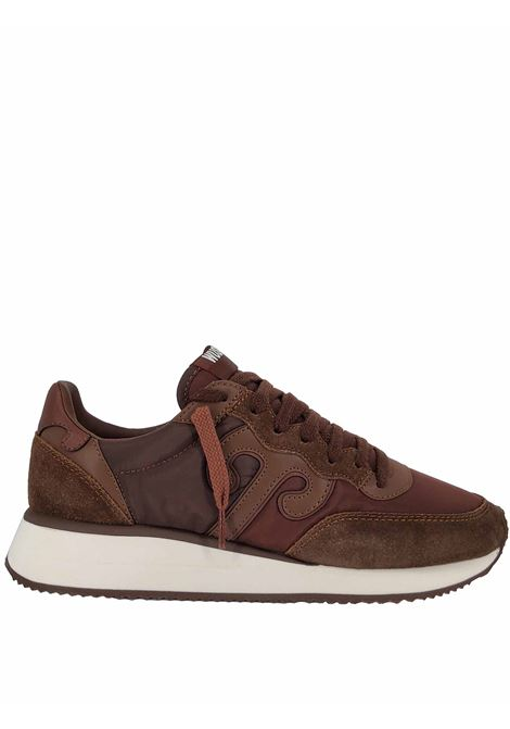 Women's Shoes Sneakers Master in Brown Leather and Brown Fabric with White Rubber High Sole Wushu | Sneakers | MASTERM213W