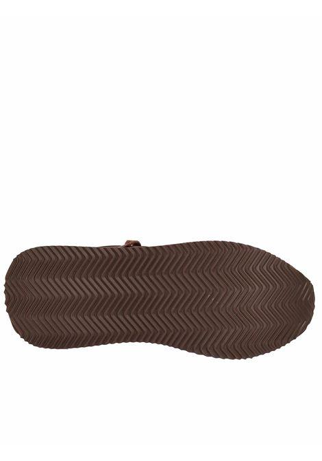 Calzature Uomo Sneakers Master in Pelle Marrone e Tessuto Marrone con Fondo Alto in Gomma Bianca Wushu | Sneakers | MASTER MM213M