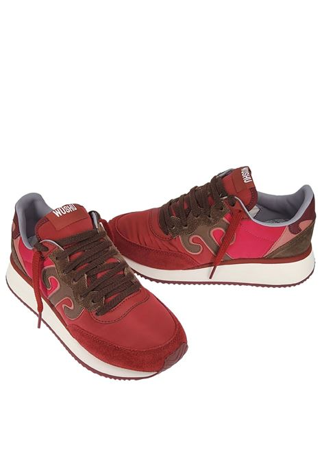 Women's Shoes Sneakers Master in Bordeaux Leather and Red Fabric with White Rubber High Sole Wushu | Sneakers | MASTERM216W