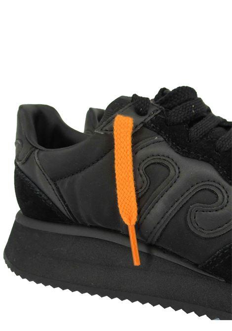 Calzature Uomo Sneakers Master in Pelle Nera e Tessuto Nero con Fondo Alto in Gomma Nero Wushu | Sneakers | MASTER MM2002