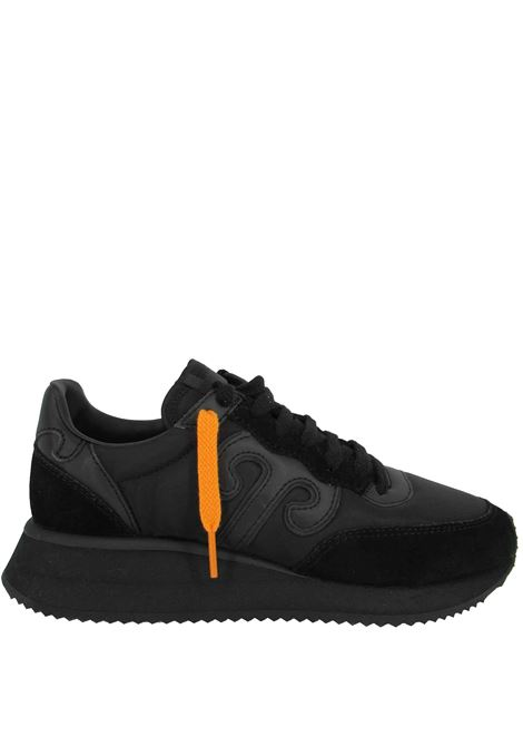 Calzature Donna Sneakers Master in Pelle Nera e Tessuto Nero con Fondo Alto in Gomma Nero Wushu | Sneakers | MASTERM202W