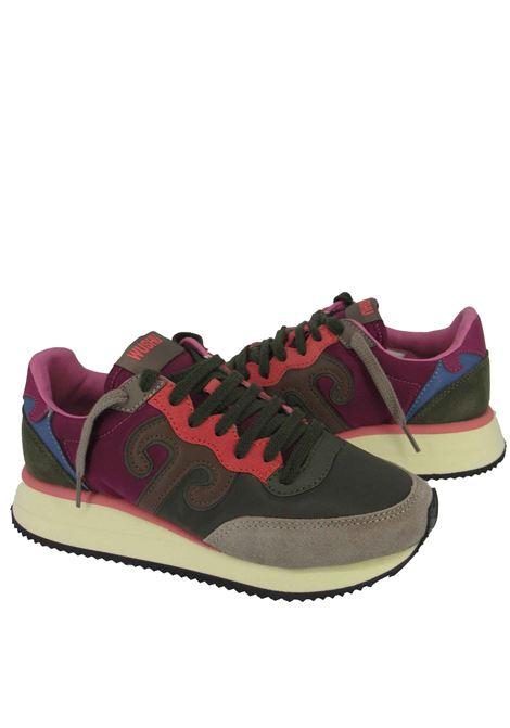 Calzature Donna Sneakers Master in Pelle Taupe e Tessuto Verde con Fondo Alto in Gomma Panna Wushu | Sneakers | MASTERM212W