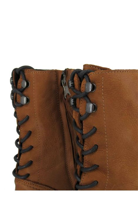 Women's Shoes Ankle Boots in Tan Leather with Back Laces and Rubber Sole Tank Zoe | Ankle Boots | BRISTOL014