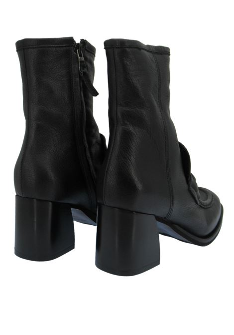 Women's Shoes Ankle Boots in Black Leather with Strap and Accessory and Leather Heel Zoe | Ankle Boots | LEEDS03001