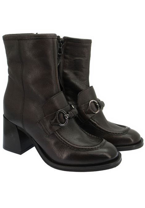 Women's Shoes Ankle Boots in Brown Leather with Strap and Accessory and Leather Heel Zoe | Ankle Boots | LEEDS03013