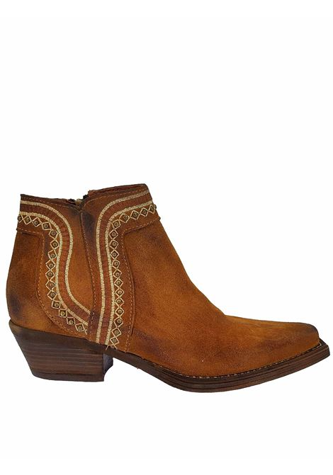 Women's Shoes Texans Ankle Boots in Tan Suede with Studs and Side Zip Stitching and Square Toe Zoe | Ankle Boots | NEZ05014