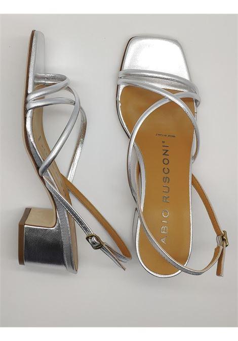 Calzature Donna Sandali in Pelle Laminata Argento con Cinturino Posteriore Fabio Rusconi | Sandali | 1206ARGENTO