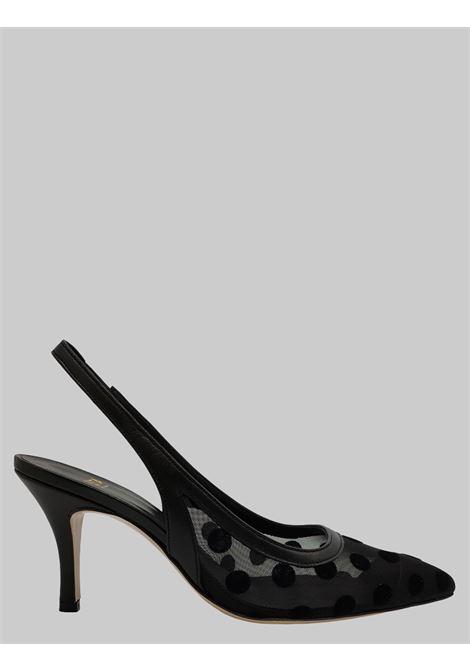 Calzature Donna Décolleté Chanel in Rete Nera con Pois in Tinta e aTacco Alto Festa | Décolleté | BAXONERO
