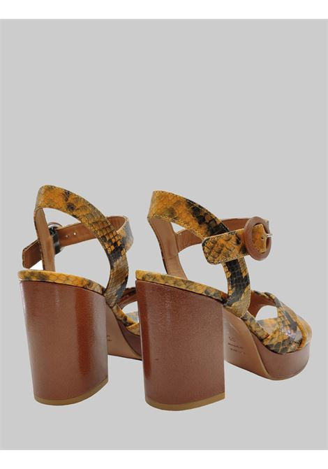 Women's Shoes Python Print Leather Sandals in Ocher Color with Heel and High Platform Festa | Sandals | BILBAOOCRA