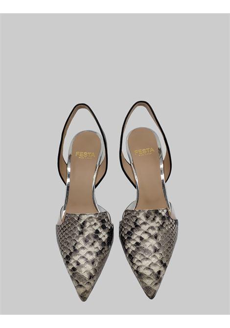Calzature Donna Chanel in Pelle Pitonata Roccia e Cinturino in Vernice Nera Festa | Sandali | BORBONAROCCIA
