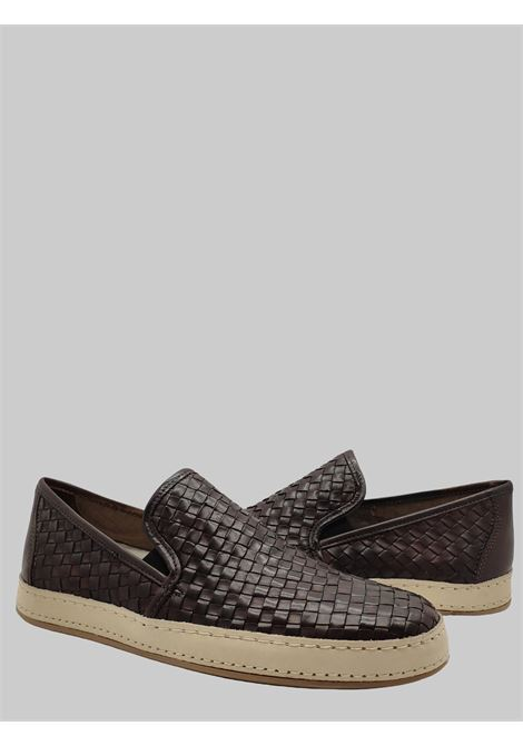 Men's Shoes Slip on Loafers in Braided Brown Leather with Rubber Bottom Florsheim | Mocassins | 51409-81TESTA DI MORO