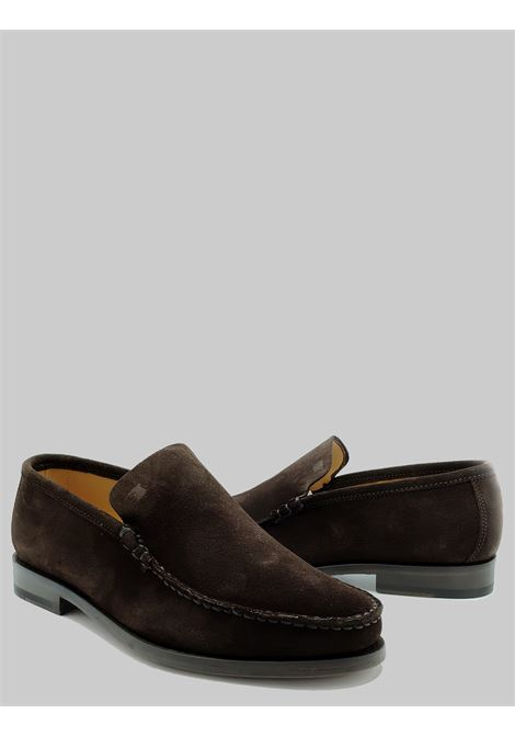 Men's Shoes Slip On Moccasins in Pointed Dark Suede with Stitched Leather Sole Florsheim | Mocassins | 52775-30MORO