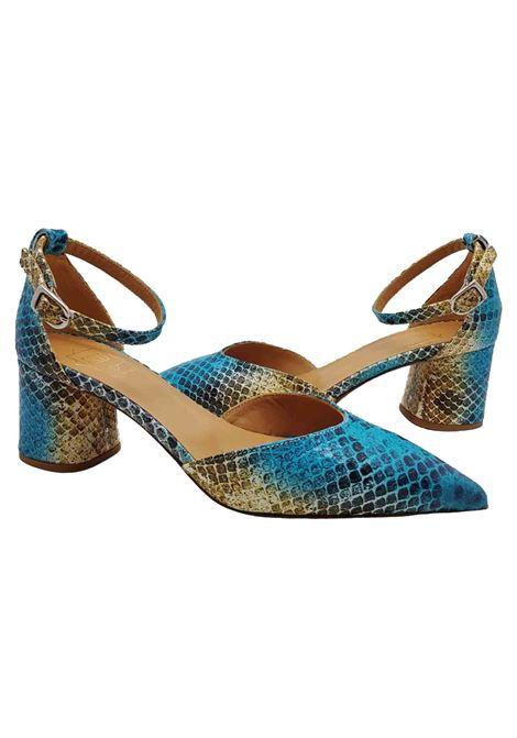 Calzature Donna Sandali in Pelle Stampata Blu Multicolore con Cinturino alla Cavigia e Punta a Punta Fru | Sandali | 7903CIELO
