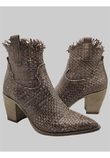 Calzature Donna Stivaletti Texani in Pelle Intreciata Sabbia con zip Laterale e Suola in Cuoio Mimmu | Stivaletti | 4947PIETRA
