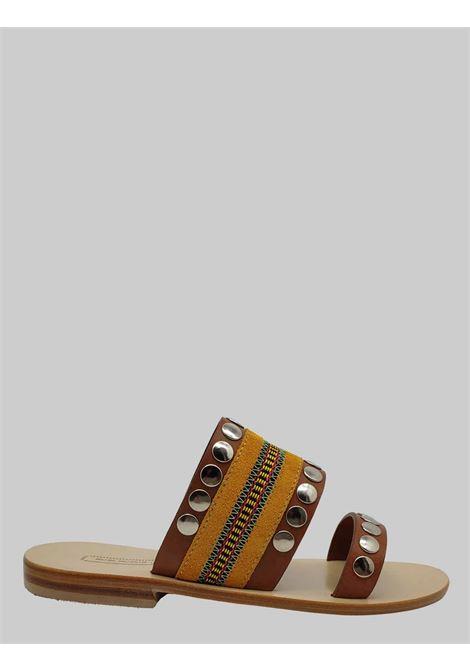 Calzature Donna Sandali Bassi in Pelle Cuoio con Borchie e Tessuto Fondo Cuoio Nanni Milano | Sandali Flat | 512NACUOIO