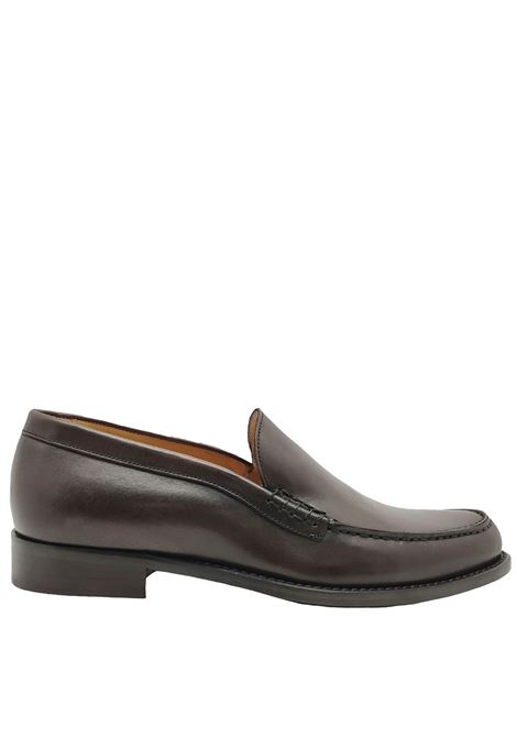 Men's Shoes Moccasins in Dark Brown Leather with Smooth Flap and Stitched Leather Bottom Spatarella | Mocassins | 06013