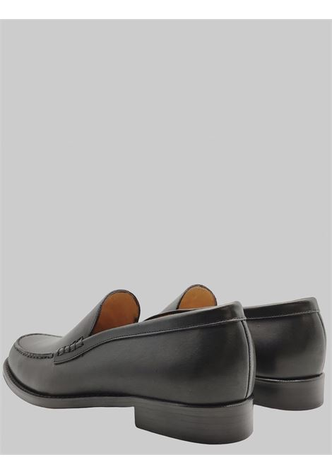 Men's Shoes Loafers in Black Leather with Smooth Flap and Stitched Leather Bottom Spatarella | Mocassins | 06001