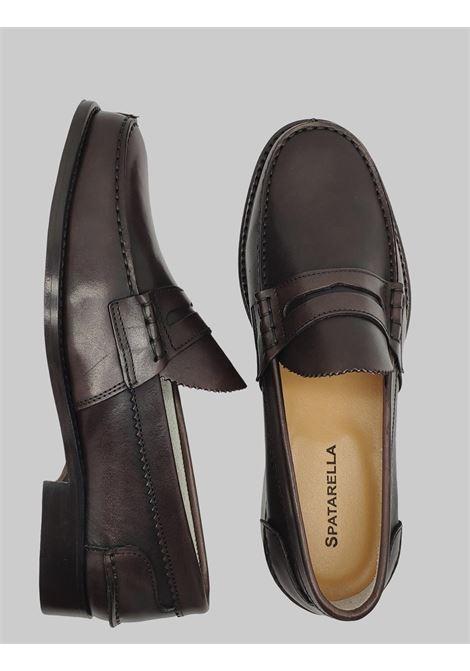 Men's Shoes Moccasins in Dark Brown Leather with Bandage and Stitched Leather Bottom Spatarella | Mocassins | MOC SA013