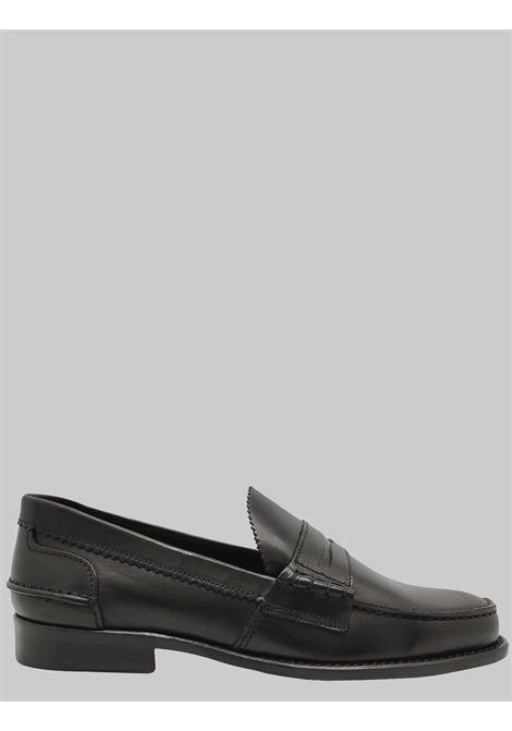 Men's Shoes Loafers in Black Leather with Bandage and Stitched Leather Bottom Spatarella | Mocassins | MOC SA001