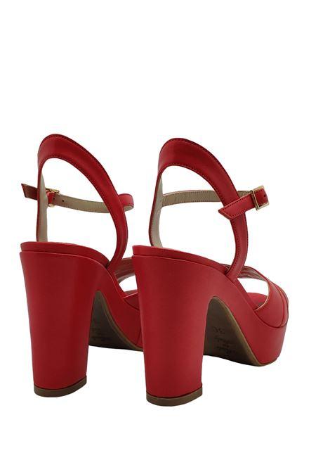 Calzature Donna Sandali in Pelle Rossa con Cinturino alla Caviglia Zeppa Alta Tattoo | Sandali Zeppa | GLORIA 18ROSSO