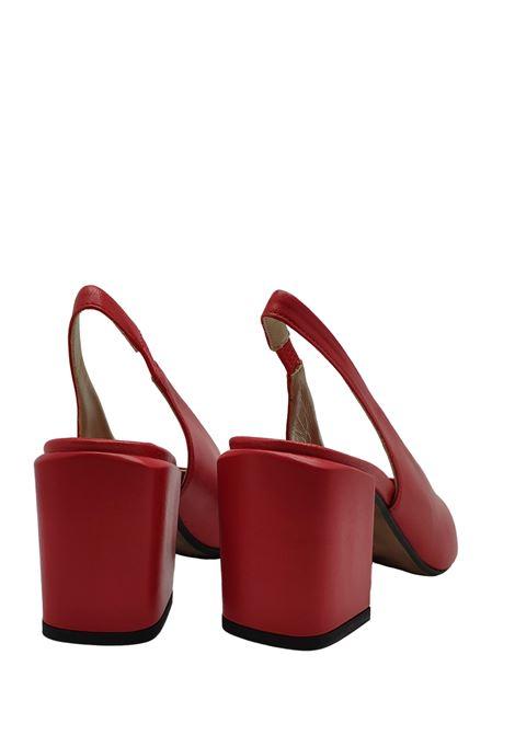 Calzature Donna Décolleté in Pelle Rossa con Cinturino Posteriore Tacco Grosso e Punta a Punta Tattoo | Sandali | ISELLA 3ROSSO