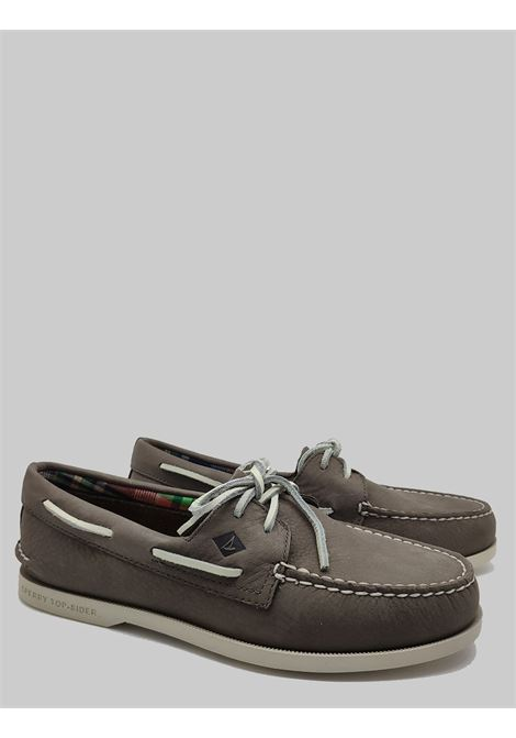 Men's Shoes Sperry Loafers in Gray Leather with Leather Laces and Rubber Sole Top Sider | Mocassins | STS104105022