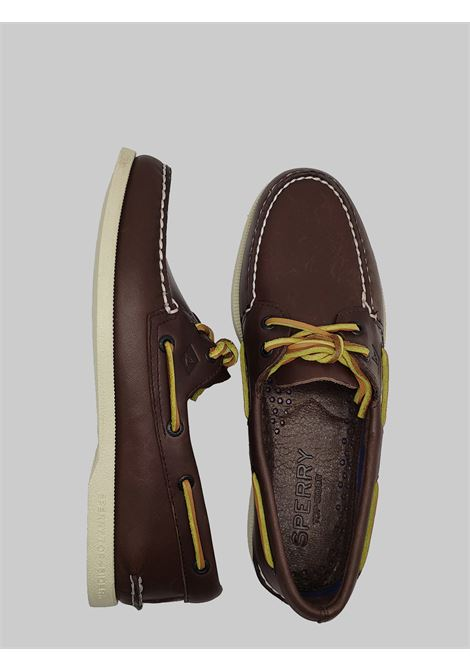 Men's Shoes Sperry Moccasins in Dark Brown Leather with Leather Laces and Rubber Sole Top Sider | Mocassins | STS104105013