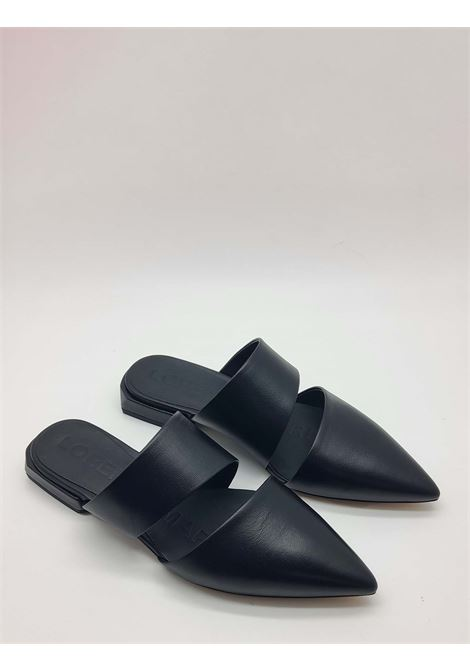 Women's Shoes Black Leather Mule Sandals with Double Band Lorenzo Mari | Sandals | PURITANI001