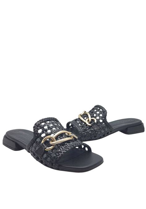 Women's Shoes Sandals in Black Leather with Accessory and Low Heel Lorenzo Mari | Sandals | SERSE001
