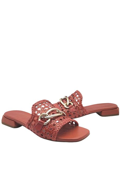 Women's Shoes Sandals in Brick Leather with Accessio and Low Heel Lorenzo Mari | Sandals | SERSE030