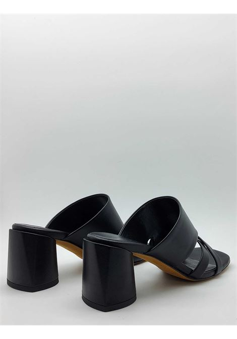Women's Shoes Barefoot Sandal in Black Leather with Cross Band and Leather Bottom Lorenzo Mari | Sandals | TRISTANO001