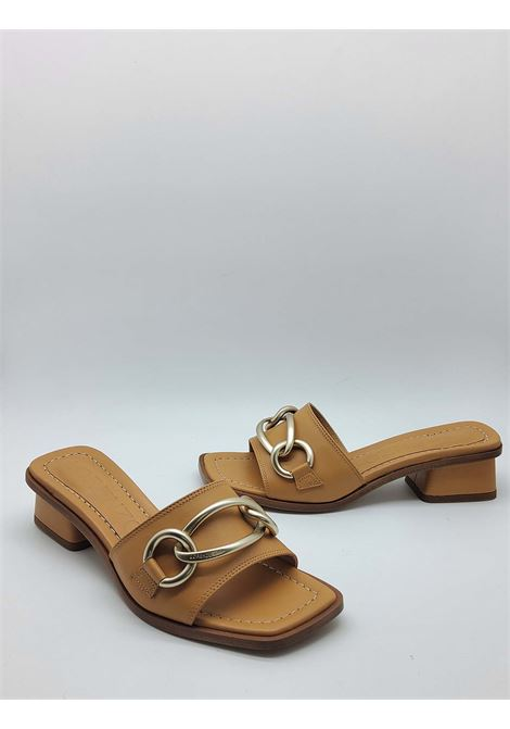 Women's Shoes Leather Sandals with Burnished Gold Horsebit Low Heel Lorenzo Mari | Sandals | TROVATORE014