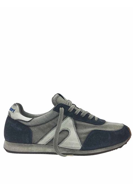 Men's Shoes Sneakers Lace-up in Vintage Gray Fabric and Blue Suede with Vintage Bottom Atala | Sneakers | 10014002