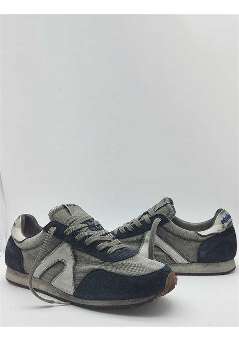 Calzature Uomo Sneakers Stringate in Tessuto Vintage Grigio e Camoscio Blu con Fondo Vintage Atala | Sneakers | 10014002