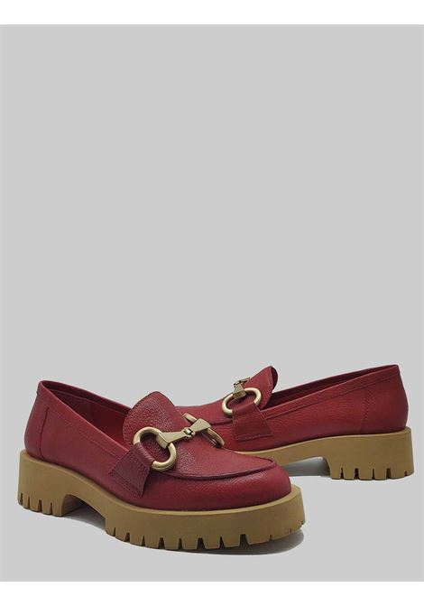 Women's Shoes Moccasins in Red Leather with Gold Horsebit and Rubber Bottom Bruno Premi | Mocassins | BB0102X017