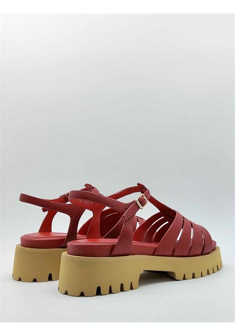 Women's Shoes Sandals in Red Leather with Tank Bottom and Ankle Strap Bruno Premi |  | BB0202X017