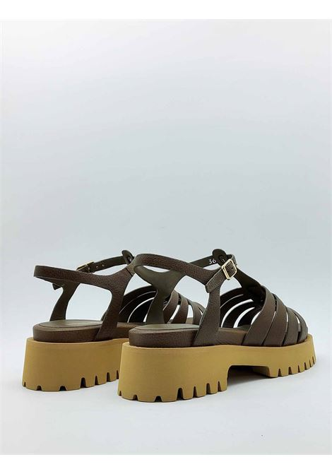 Women's Shoes Sandals in Green Leather with Tank Bottom and Ankle Strap Bruno Premi |  | BB0202X040