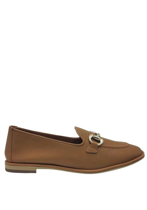 Women's Shoes Loafers in Natural Leather with Gold Clamp Bruno Premi | Mocassins | BB0302X200