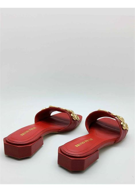 Women's Shoes Sandals in Red Leather with Gold Accessory Square Toe and Low Heel Bruno Premi | Sandals | BB0801X017