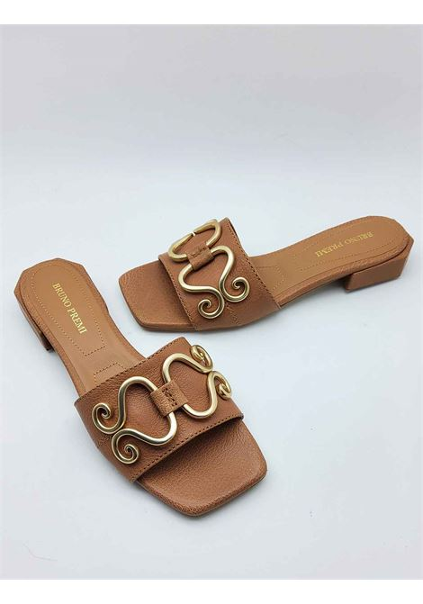 Women's Shoes Natural Leather Sandals with Gold Accessory Square Toe and Low Heel Bruno Premi | Sandals | BB0801X200