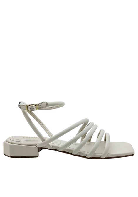 Women's Shoes White Leather Sandals with Low Heel Straps and Square Toe Bruno Premi | Sandals | BB0802X100