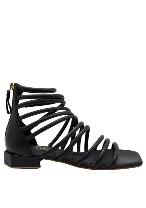 Women's Shoes Black Leather Sandals with Low Heel Straps and Back Zip Bruno Premi | Sandals | BB0803X001