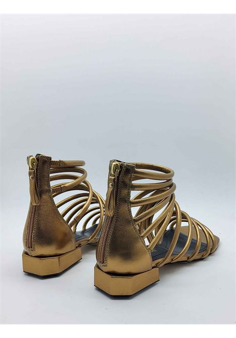 Women's Shoes Gold Leather Sandals with Low Heel Straps and Back Zip Bruno Premi | Sandals | BB0803X602