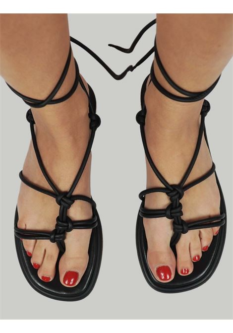 Women's Shoes Thong Sandals in Black Leather with Low Heel and Ankle Straps Bruno Premi |  | BB0901X001